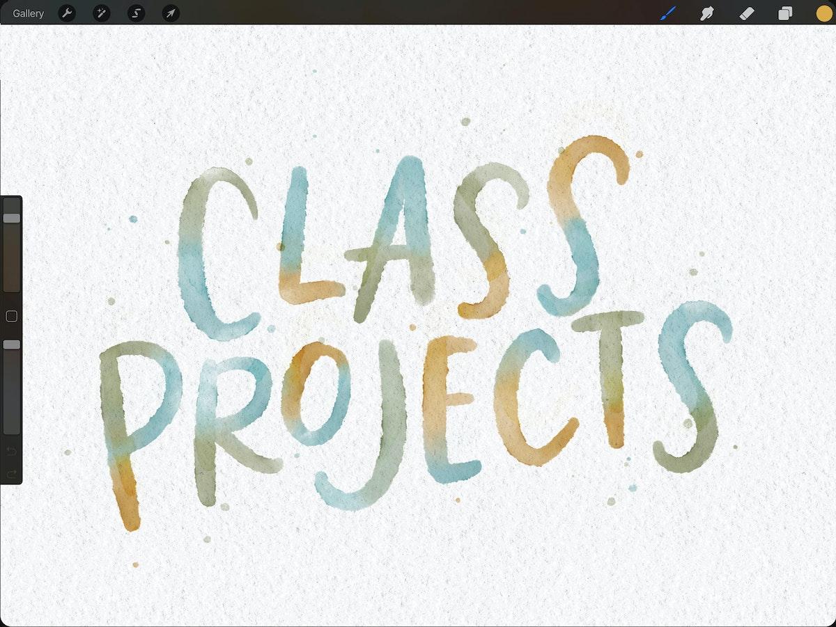 Watercolor lettering in Procreate