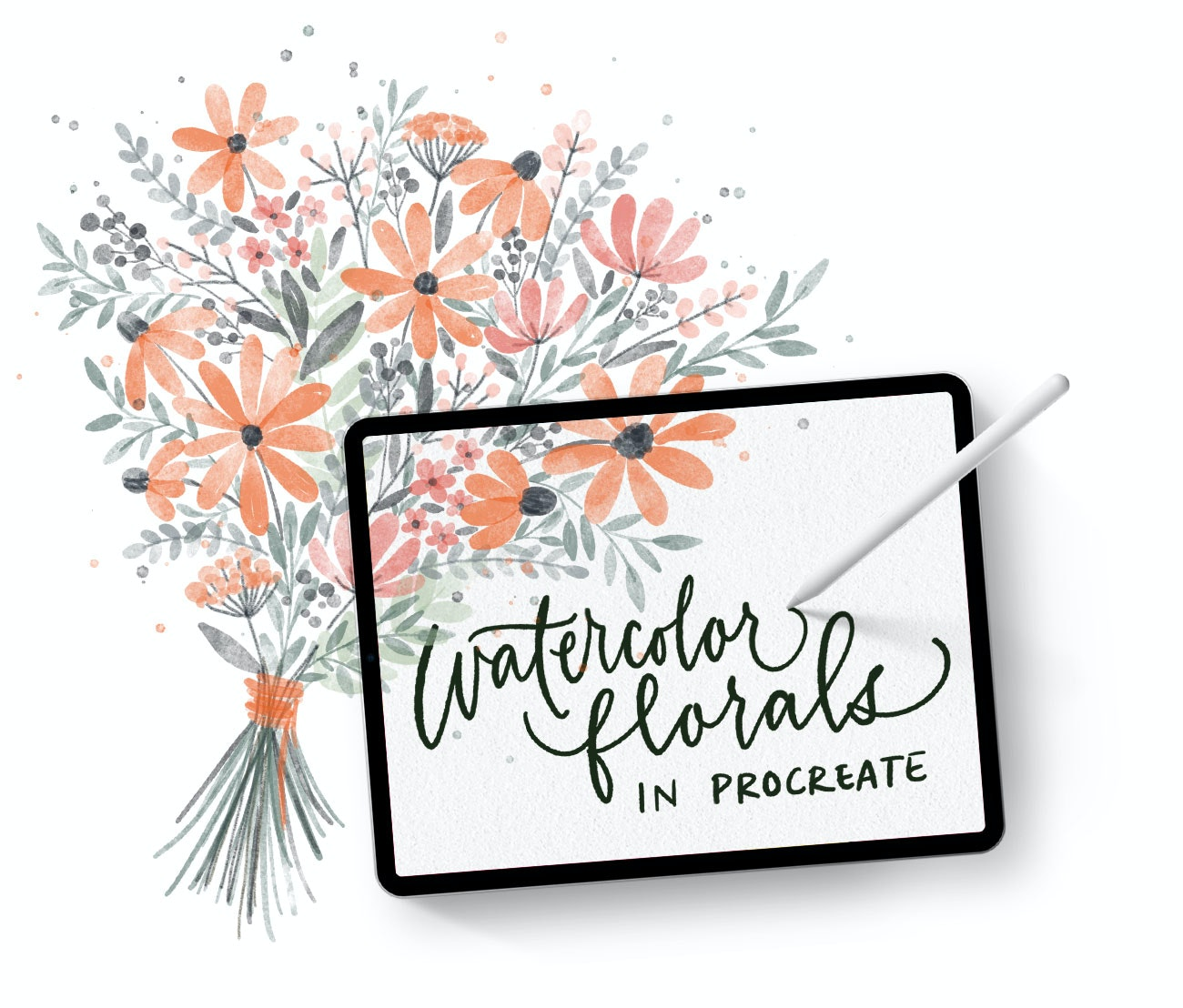 Learn how to digitally paint, vectorize and reuse watercolor florals in Procreate