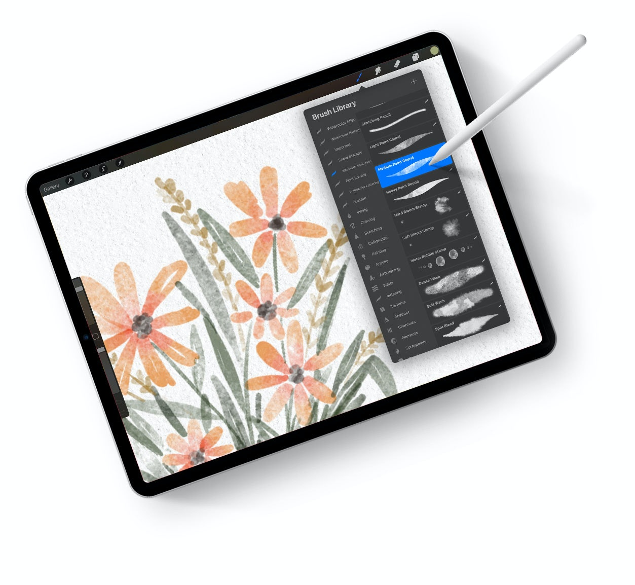 Watercolor florals in Procreate is 100% self-paced learning